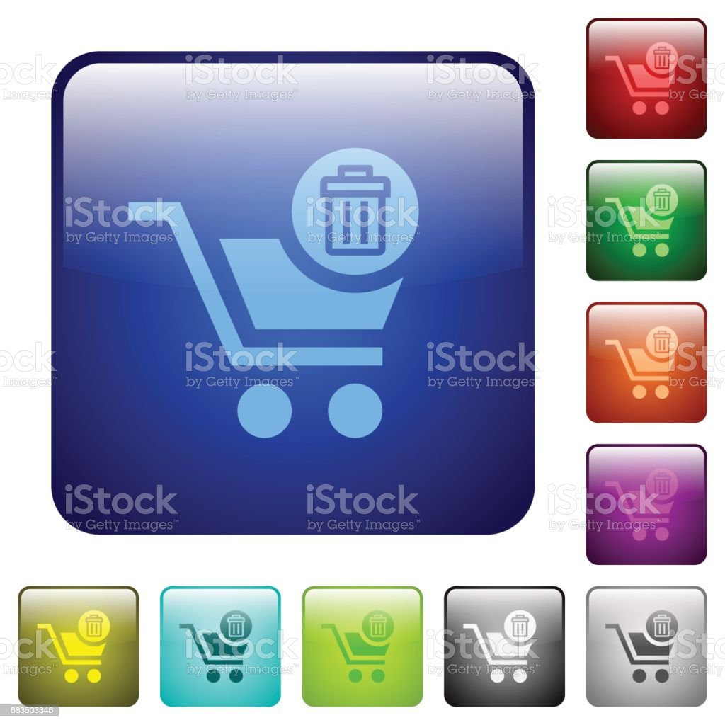 Delete from cart color square buttons vector art illustration