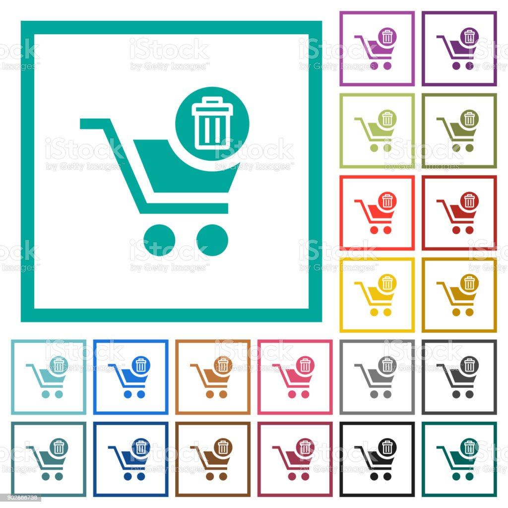Delete from cart flat color icons with quadrant frames vector art illustration