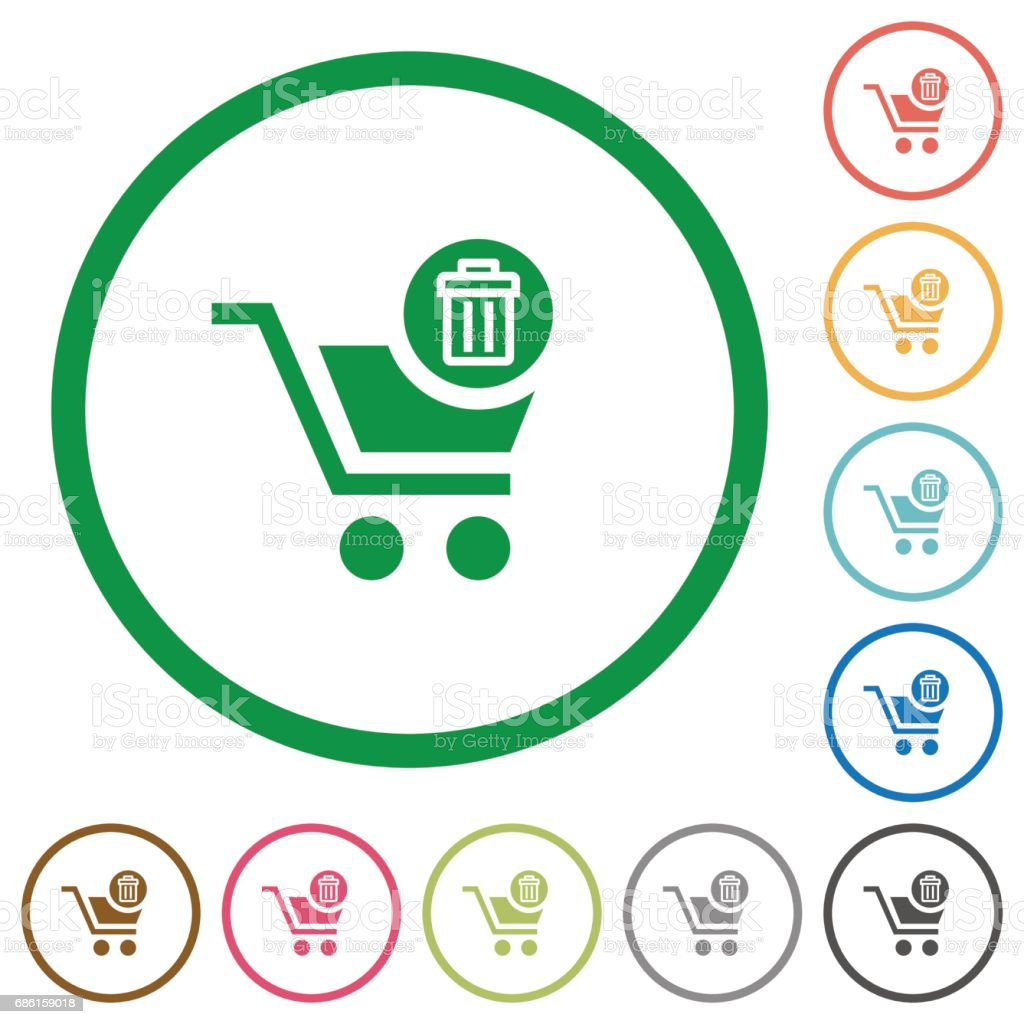 Delete from cart flat icons with outlines vector art illustration