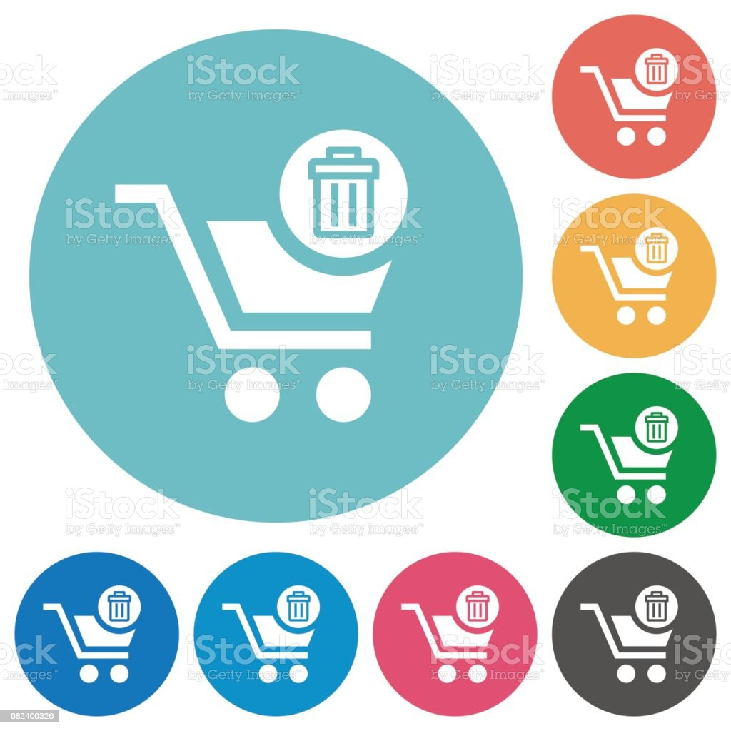 Delete from cart flat round icons vector art illustration