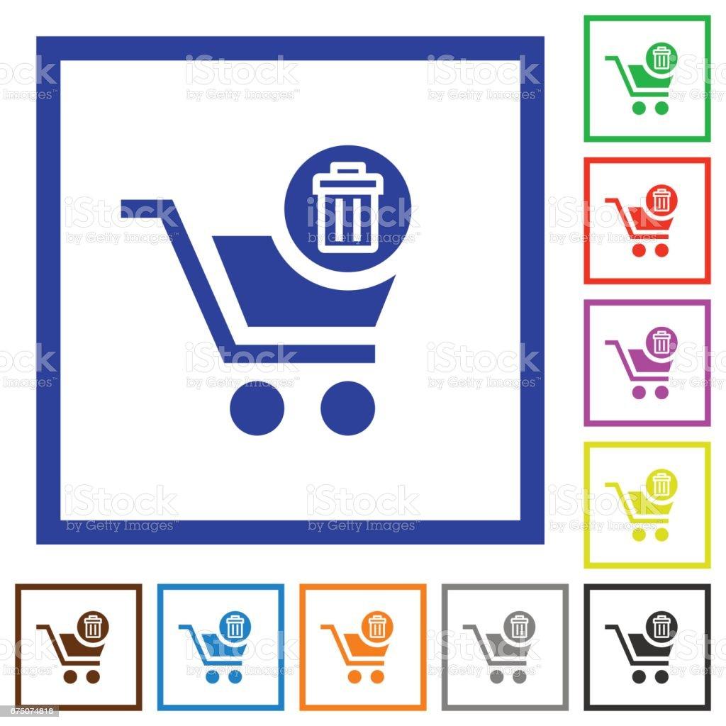 Delete from cart framed flat icons vector art illustration