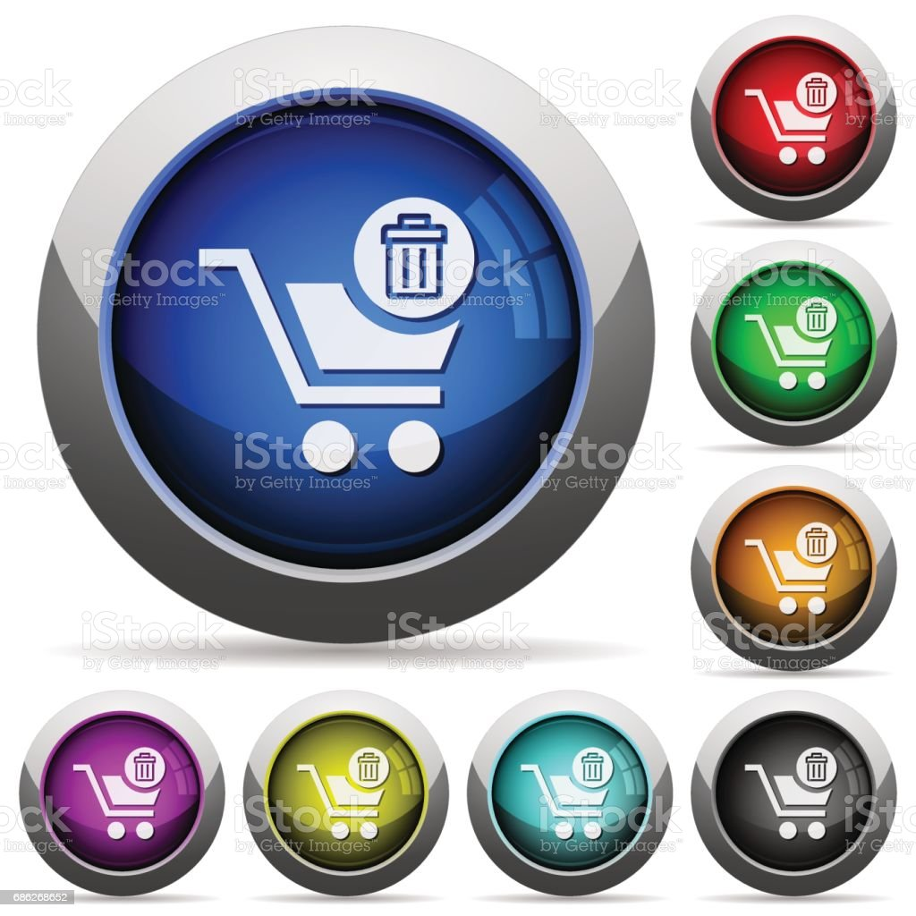 Delete from cart glossy buttons vector art illustration