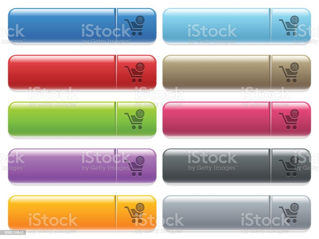 Delete from cart icons on color glossy, rectangular menu button vector art illustration