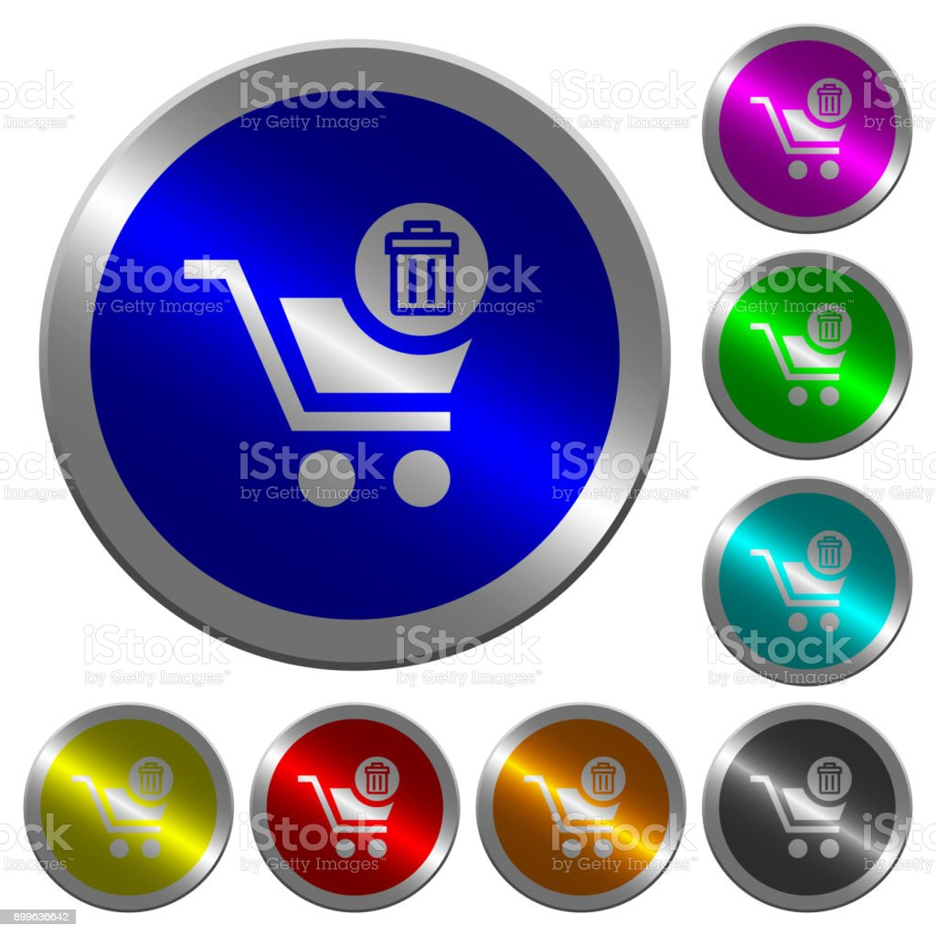 Delete from cart luminous coin-like round color buttons vector art illustration