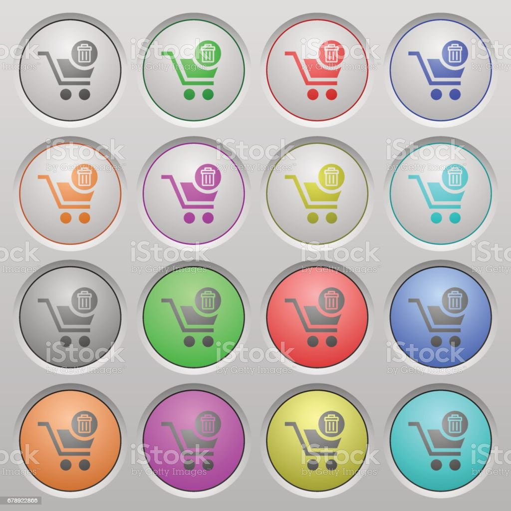 Delete from cart plastic sunk buttons vector art illustration
