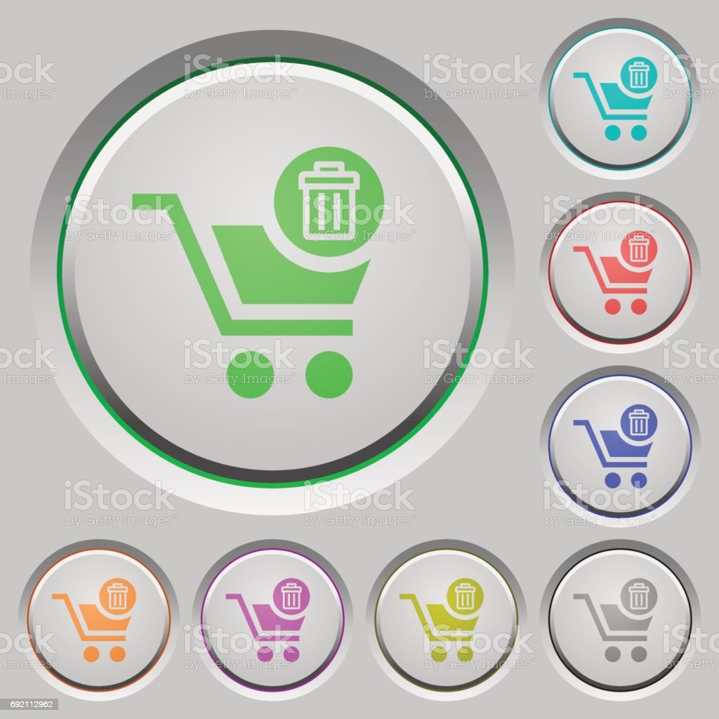 Delete from cart push buttons vector art illustration