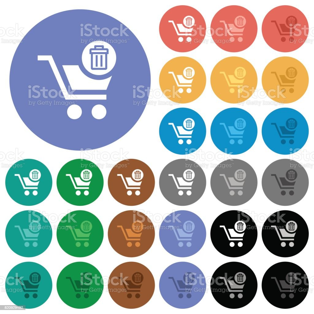 Delete from cart round flat multi colored icons vector art illustration