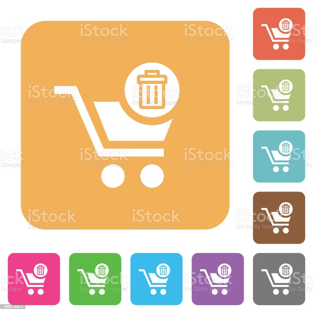 Delete from cart rounded square flat icons vector art illustration