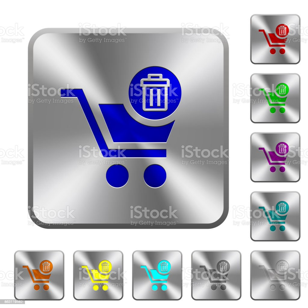 Delete from cart rounded square steel buttons vector art illustration