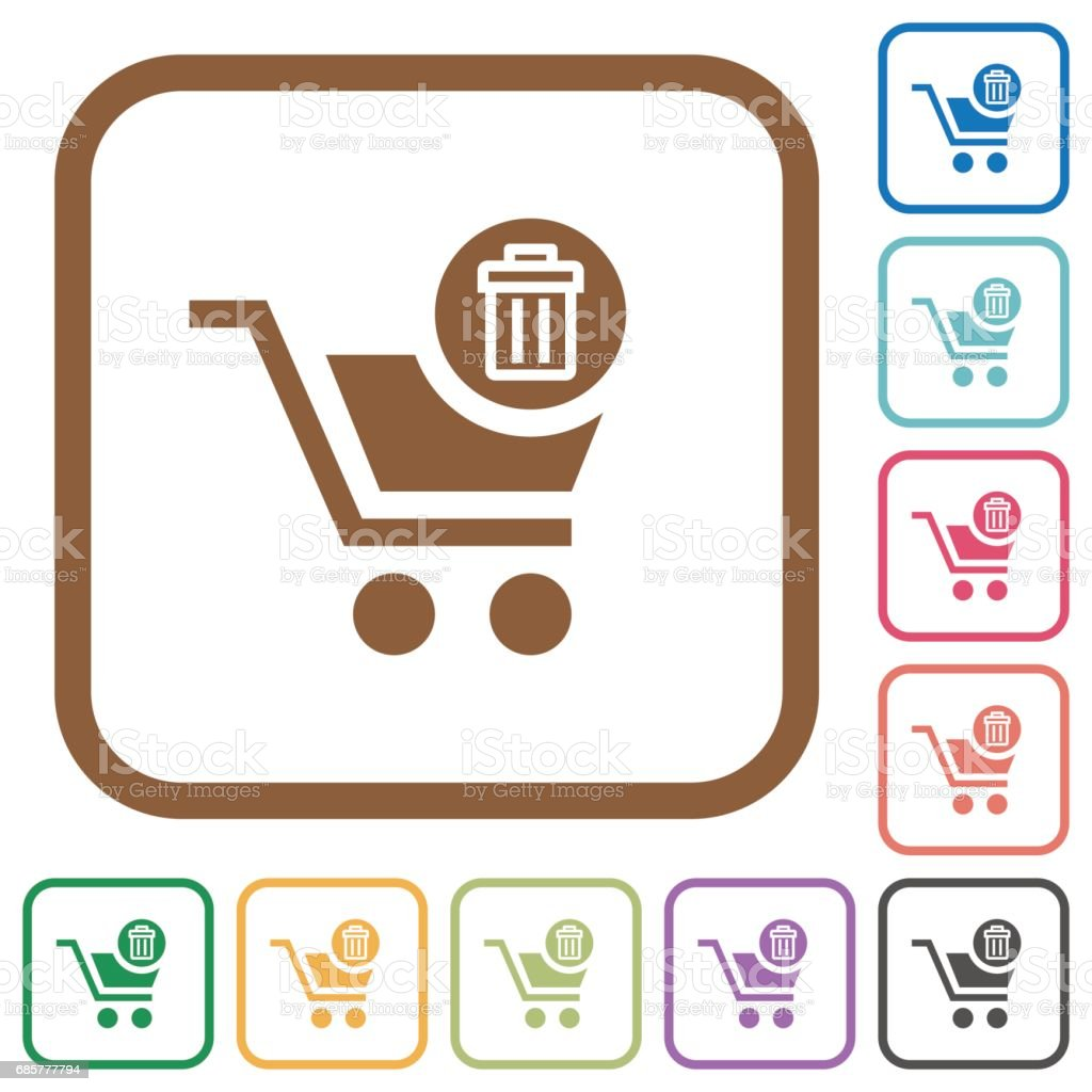 Delete from cart simple icons vector art illustration