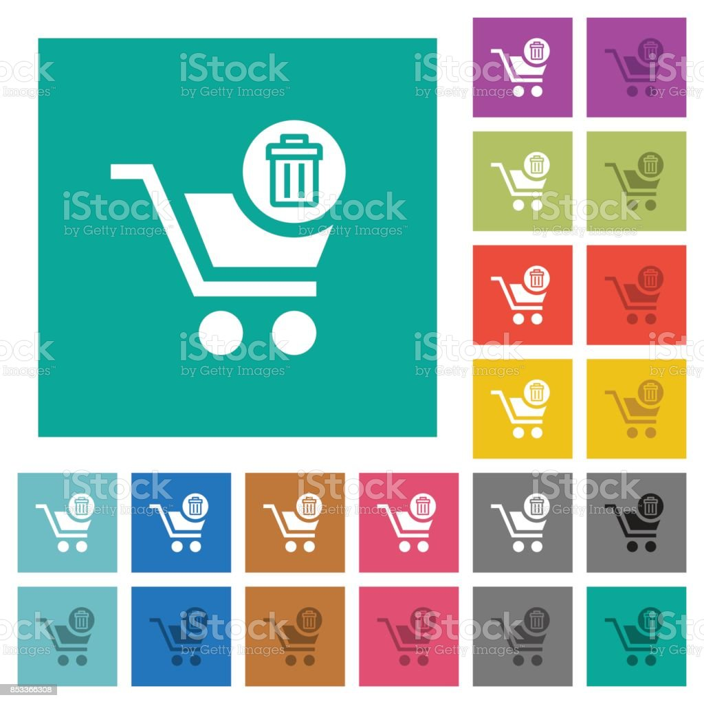Delete from cart square flat multi colored icons vector art illustration