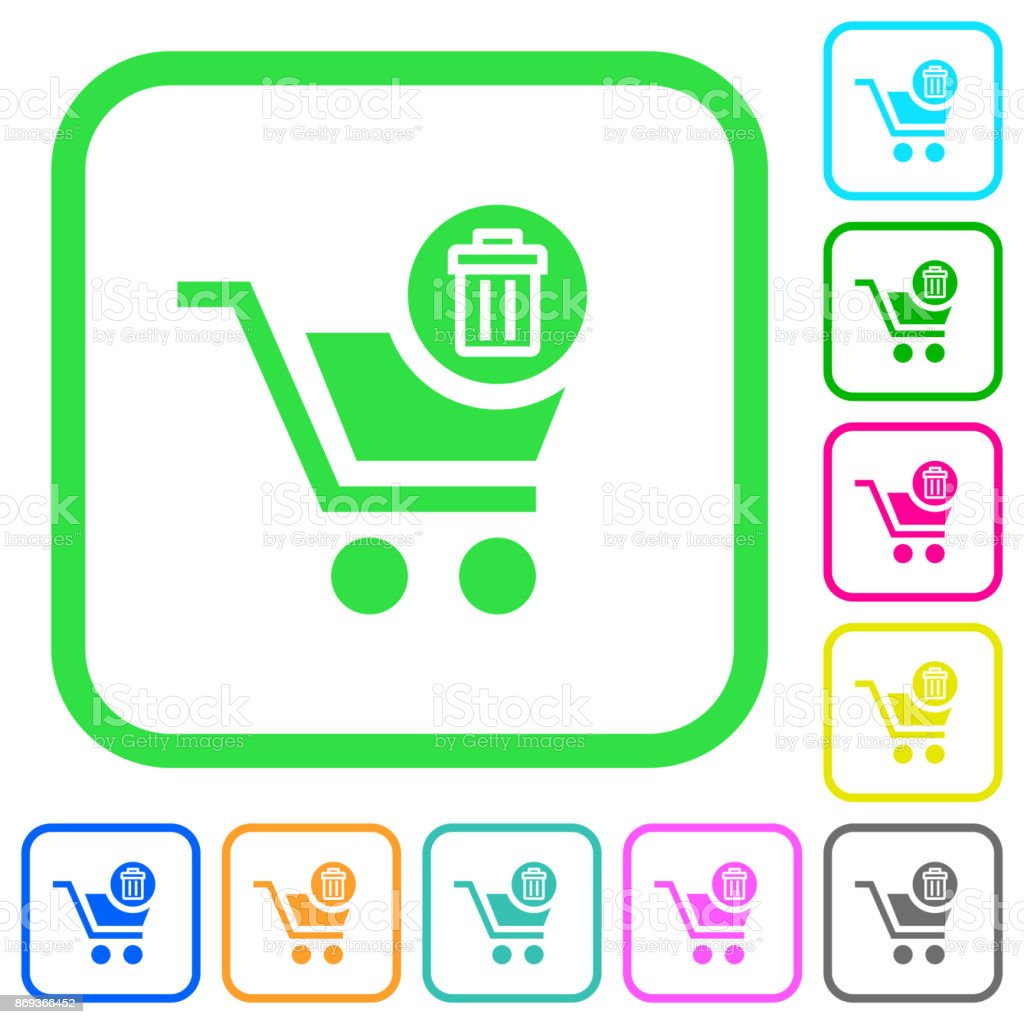 Delete from cart vivid colored flat icons icons vector art illustration