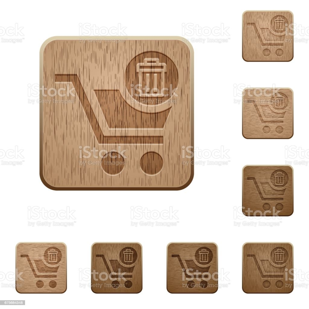 Delete from cart wooden buttons vector art illustration