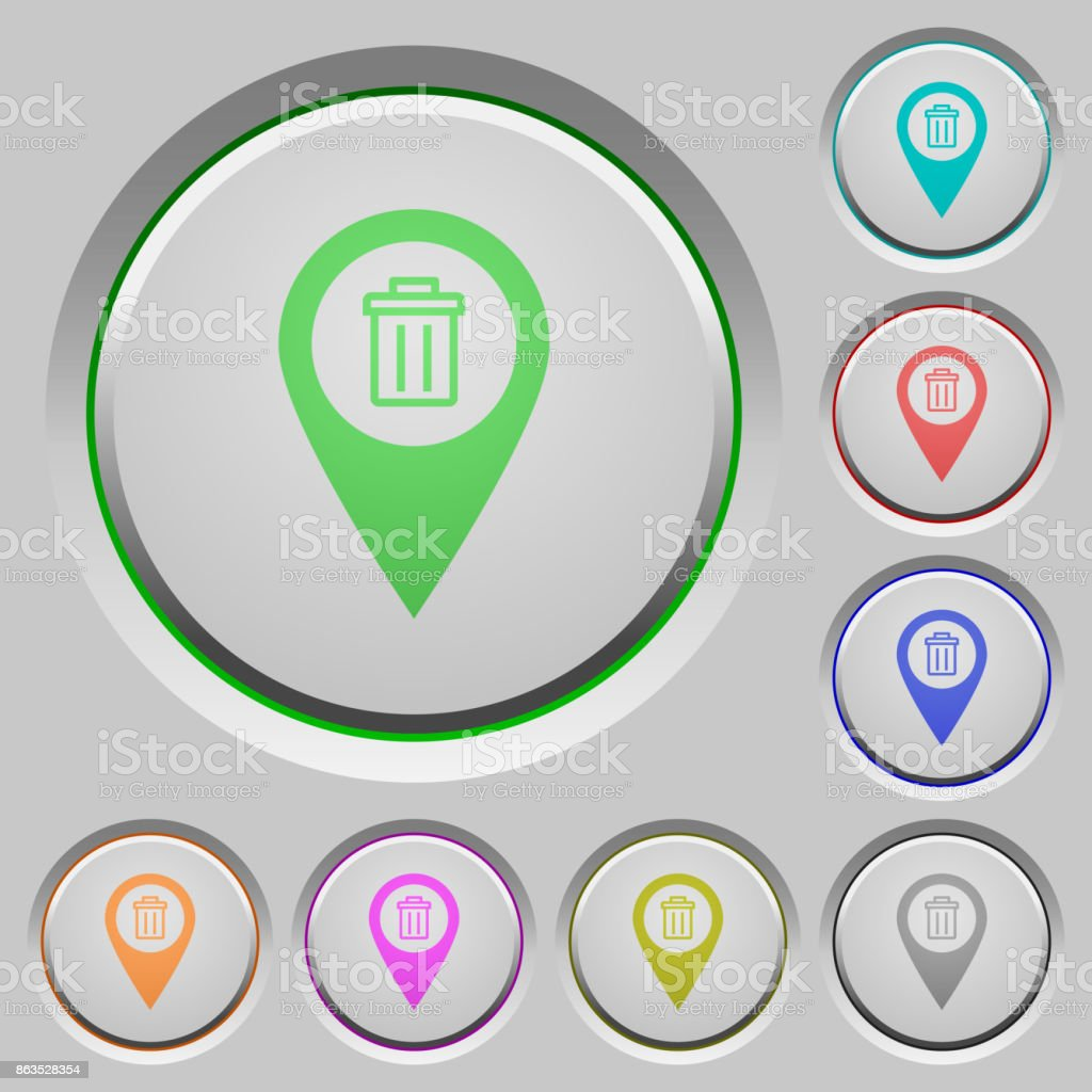 Delete GPS map location push buttons vector art illustration