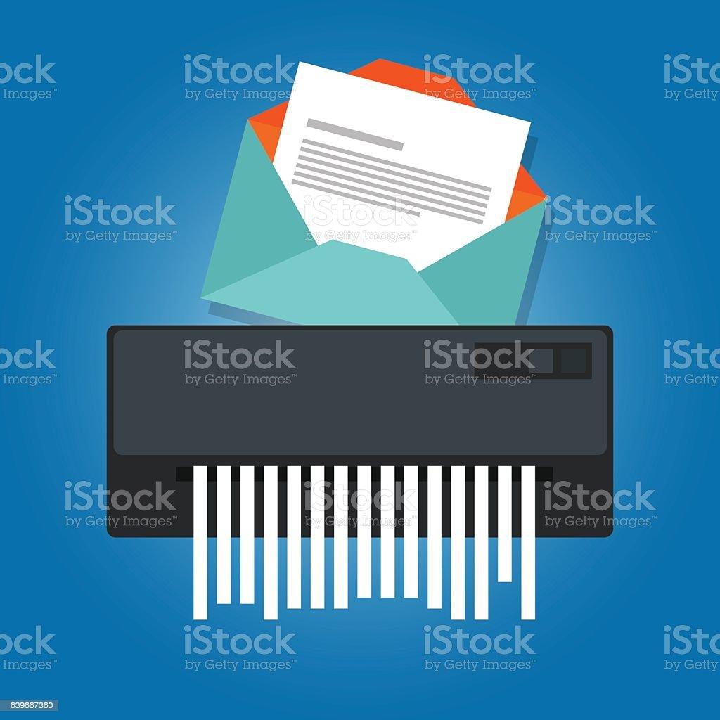 delete remove spam email trash message paper shredder vector art illustration