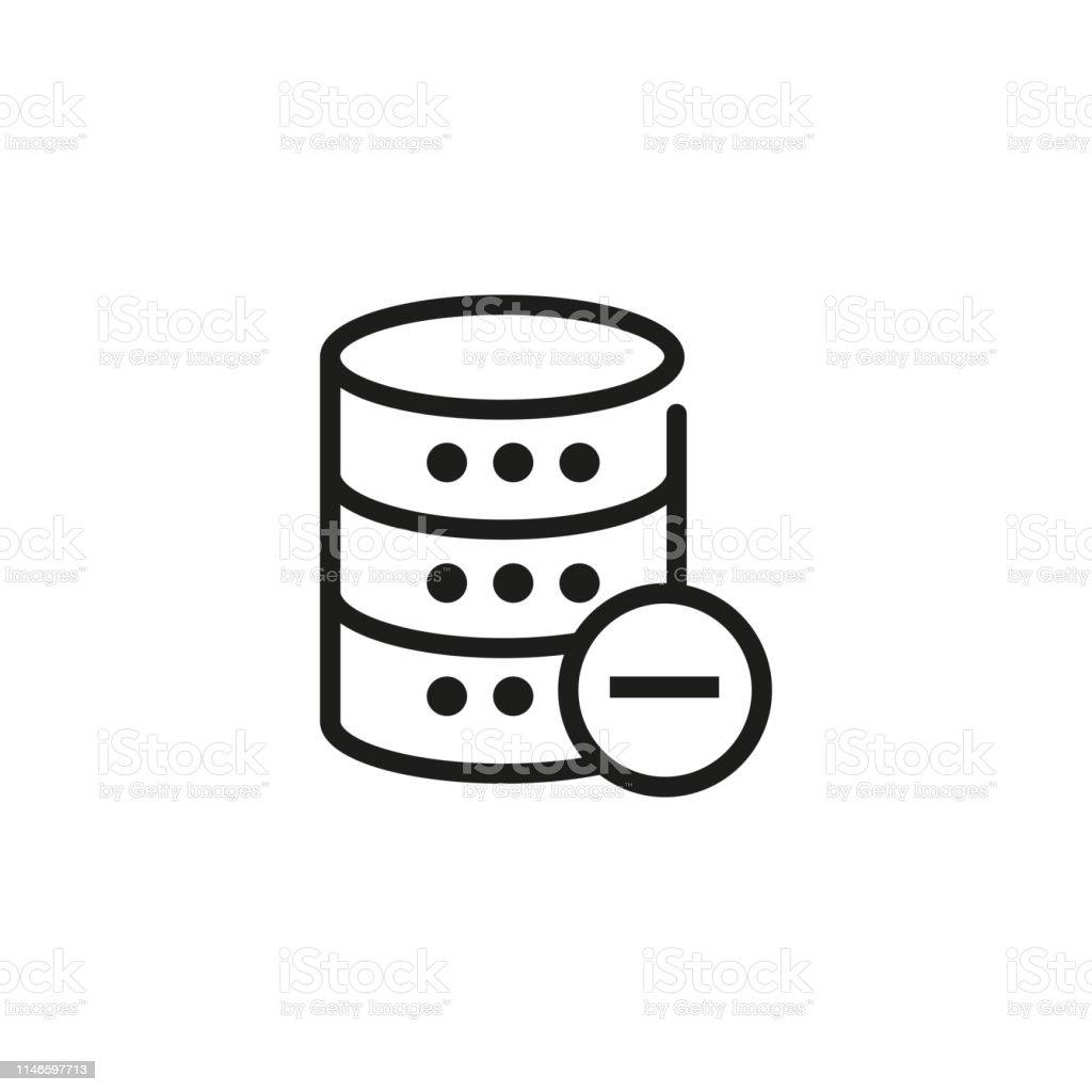 Deleting data line icon. Remove, storage cancel, database unready....