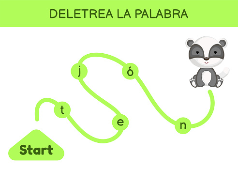 Deletrea la palabra - Spell the word. Maze for kids. Spelling word game template. Learn to read word badger. Activity page for study Spanish for development of children. Vector stock illustration.