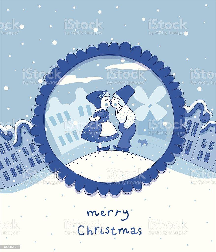 Delft blue Christmas card royalty-free stock vector art