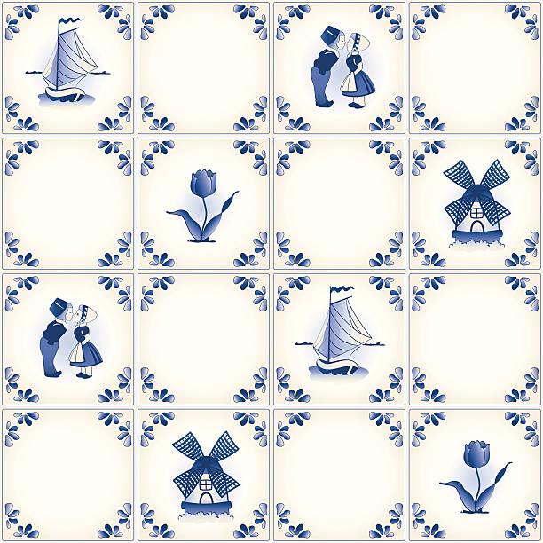 delft blue fliesen muster swatch - niederlande stock-grafiken, -clipart, -cartoons und -symbole