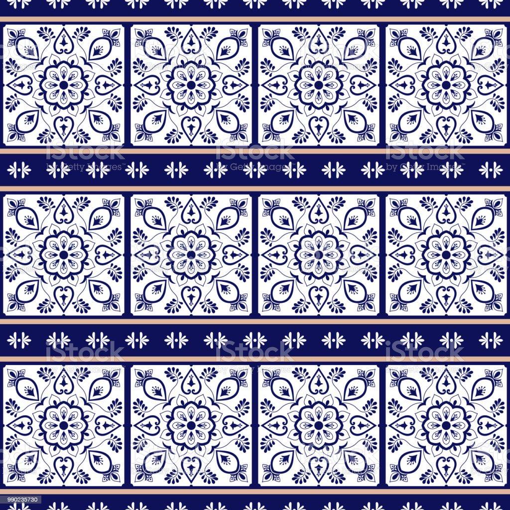 Delft Holländischen Fliesen Muster Vektor Mit Rand Blauweißen Mosaik ...
