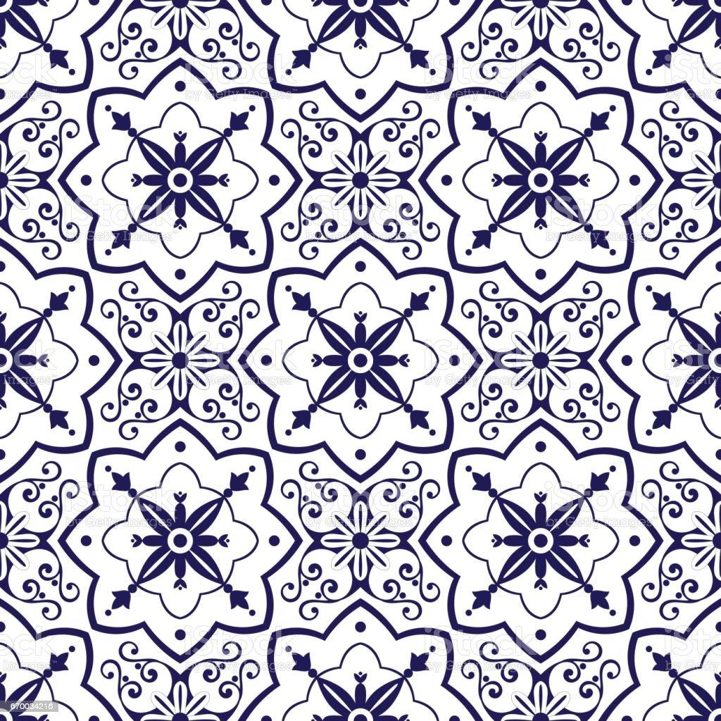 Delft dutch tiles pattern vector vector art illustration