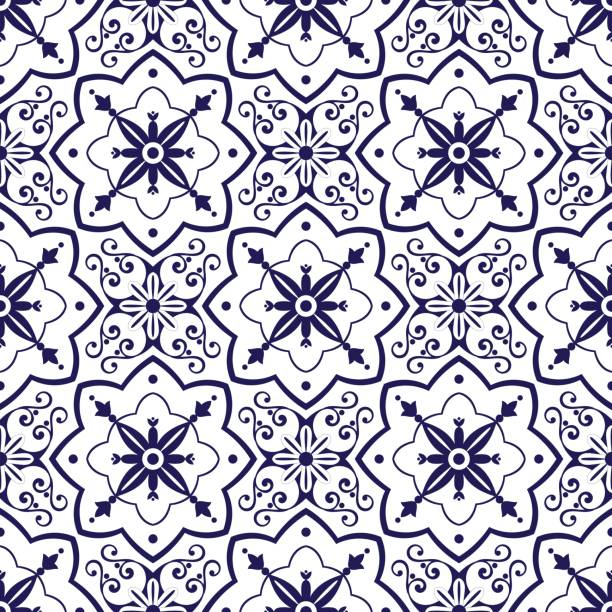 delft dutch tiles pattern vector - lizbona stock illustrations