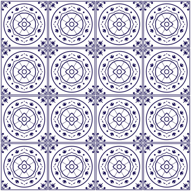 Royalty Free Talavera Tile Clip Art Vector Images Illustrations - Black and white talavera tile