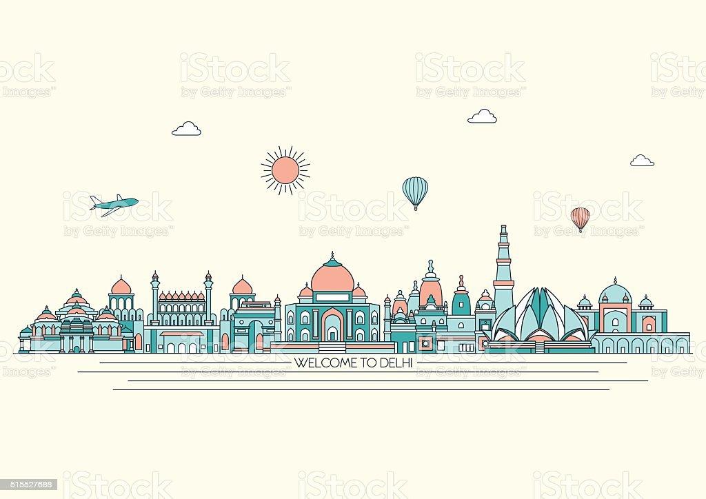 Delhi detailed skyline.  Vector background. line illustration. Line art style vector art illustration
