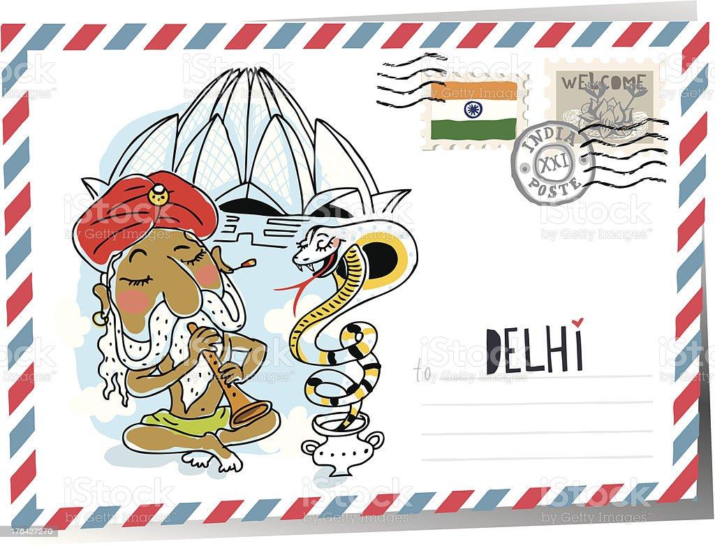 Delhi postcard. vector royalty-free stock vector art