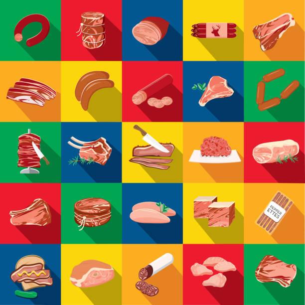 deli fleisch schneidet verschiedene schnitten flache bauweise unter dem motto icon set mit schatten - schweinebraten stock-grafiken, -clipart, -cartoons und -symbole