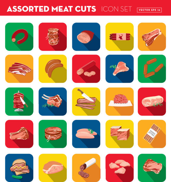 deli fleisch schneidet verschiedene schnitten flache bauweise unter dem motto icon set mit schatten - roastbeef stock-grafiken, -clipart, -cartoons und -symbole