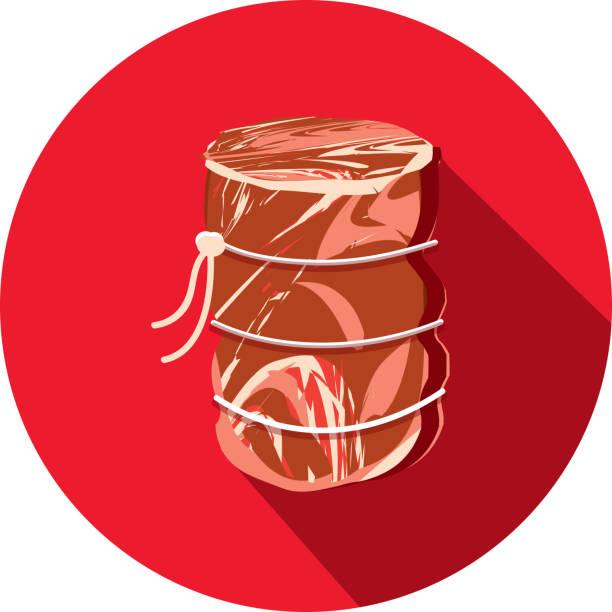 deli fleisch schneidet rindfleisch auge runde braten flach unter dem motto designikone mit schatten - roastbeef stock-grafiken, -clipart, -cartoons und -symbole