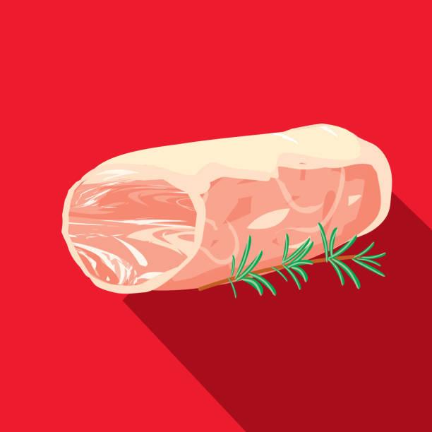 deli fleisch schneidet schweinefilet flach unter dem motto designikone mit schatten - schweinebraten stock-grafiken, -clipart, -cartoons und -symbole