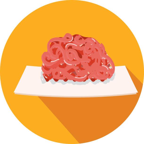 bildbanksillustrationer, clip art samt tecknat material och ikoner med deli kött skär pund av marken chuck platt design tema ikonen med skugga - paper mass