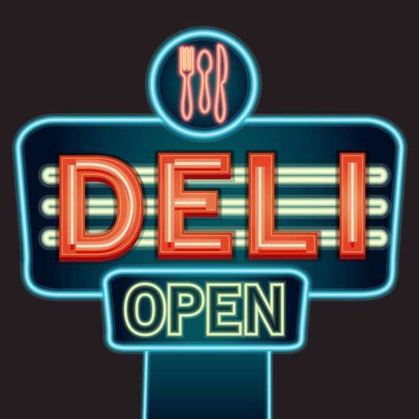 ilustrações, clipart, desenhos animados e ícones de deli placa de neon - delicatessen