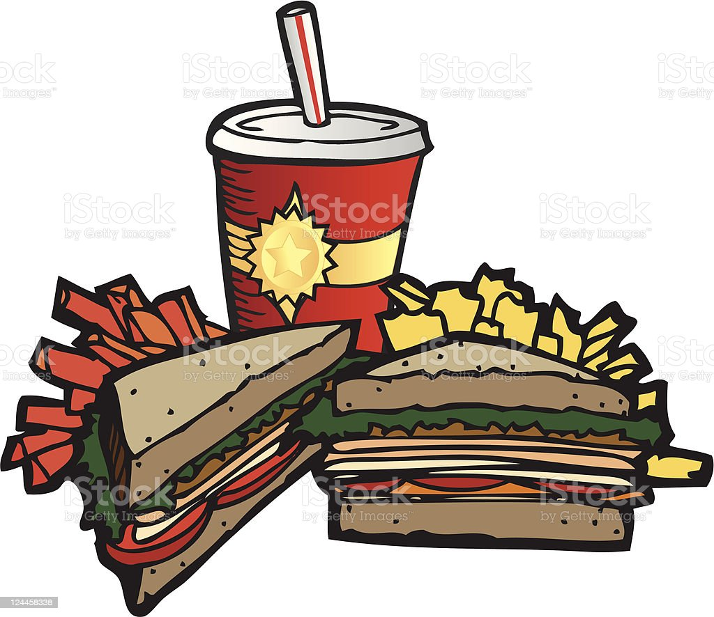 Deli Sandwich Meal with Drink royalty-free stock vector art
