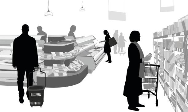 Deli Shopping Time A vector silhouette illustration of a grocery store deli with people browsing a shelf and the deli cooler.  A woman selects an item from a shelf, another people points to an item in the cooler while a man approches with a cart. grocery aisle stock illustrations