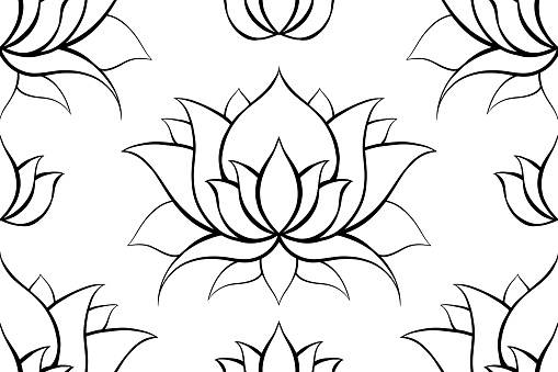Delicate background with contours of lotuses. Outline water lilies on white. Delicate natural wallpaper for spa and yoga centers. Vector floral texture.