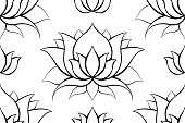 istock Delicate background with contours of lotuses. Outline water lilies on white. Delicate natural wallpaper for spa and yoga centers. Vector floral texture. 1300433116