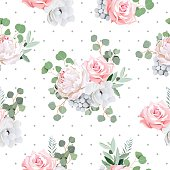 Delicate bouquets of rose, peony, anemone, brunia flowers and eucaliptis leaves. Seamless vector pattern with grey polka dotted backdrop.