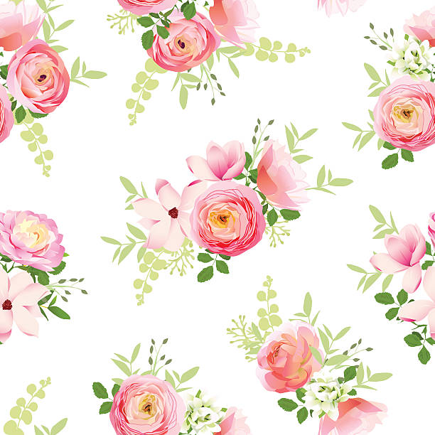 Delicate bunch of spring fresh flowers Delicate bunch of spring fresh flowers. Rose, ranunculus, magnolia, peony seamless vector print shabby chic stock illustrations