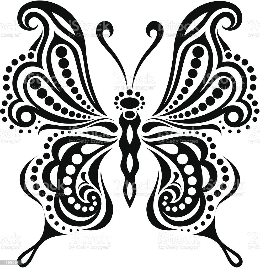 delicate butterfly silhouette drawing of lines and points stock