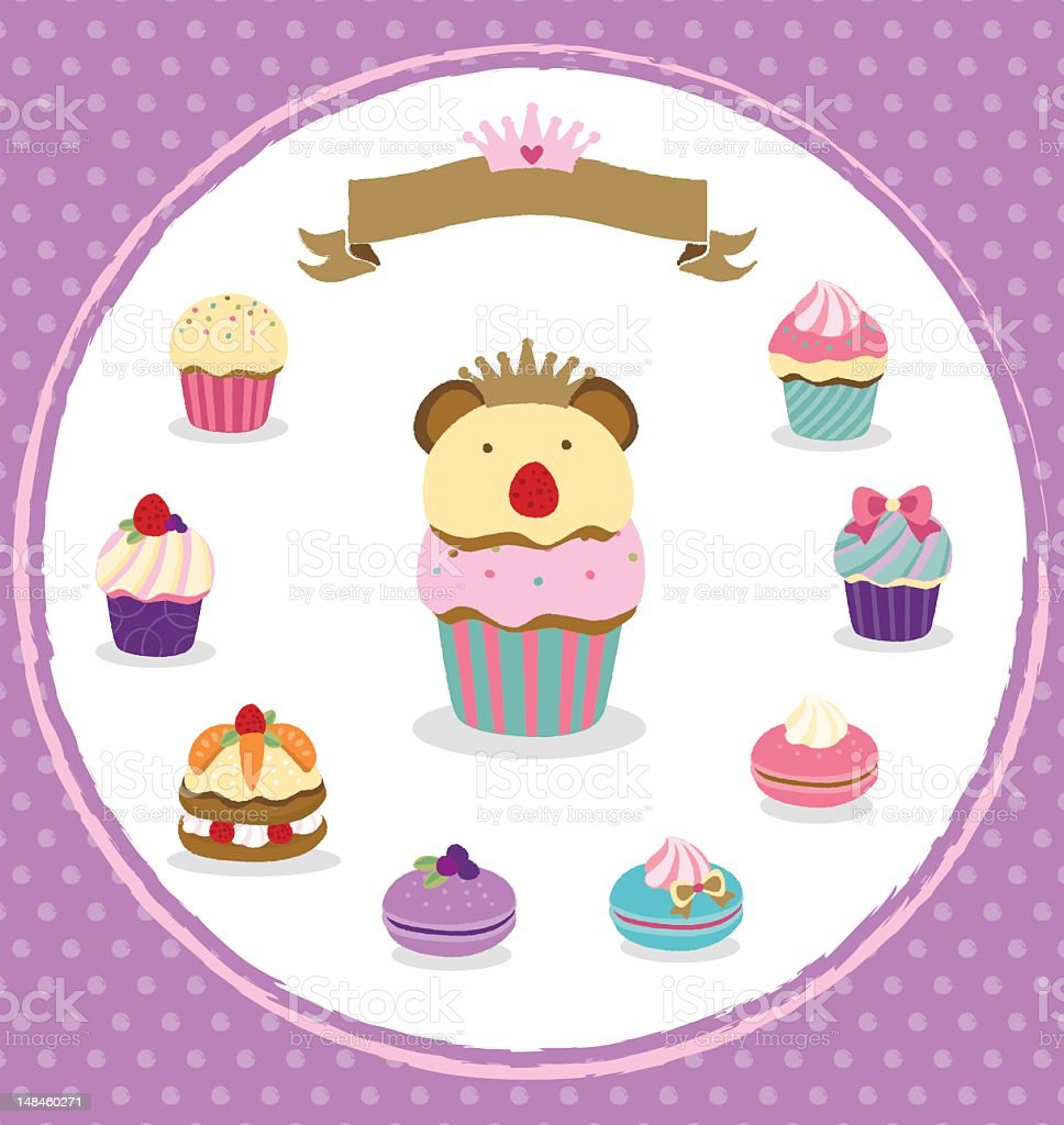 delicate desserts with cute decorations royalty-free delicate desserts with cute decorations stock vector art & more images of bear
