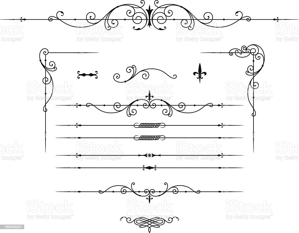 Delicate, elegant, fine lined decorative elements vector art illustration