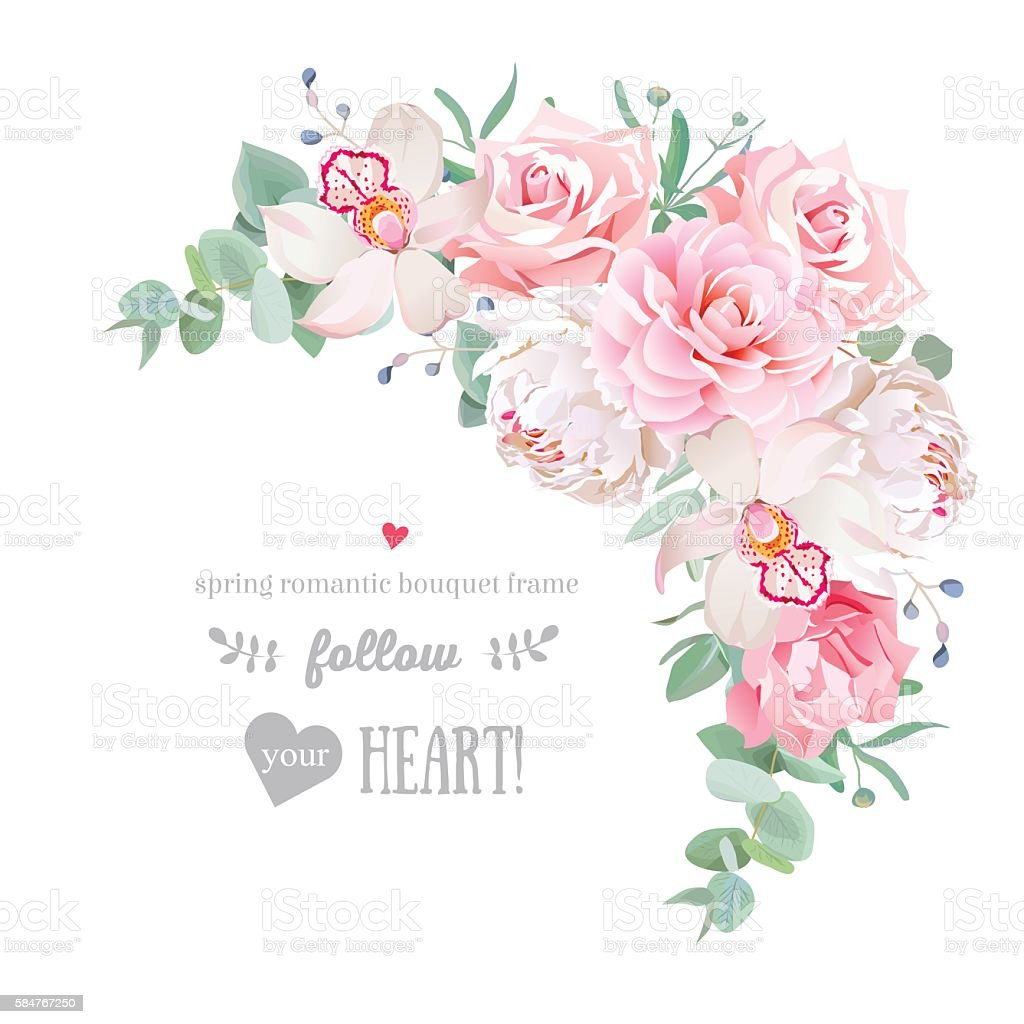 Delicate floral vector frame with peony, camellia, rose, orchid, carnation vector art illustration