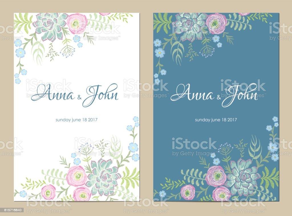 Zarte Blumen Hochzeit Einladung Speichern Sie Das Datum Grusskarte