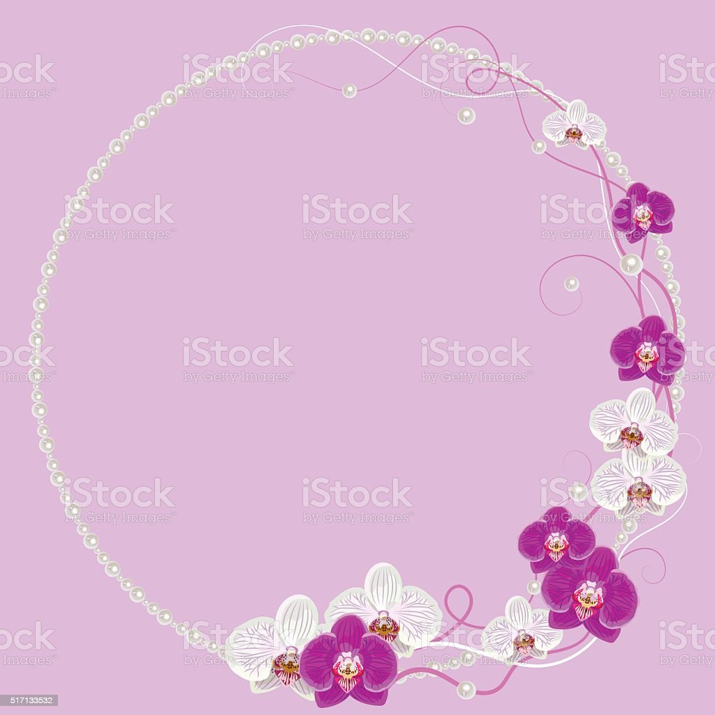 Delicada Marco Con Flores De Orquídea En Fondo Rosa Y Perlas - Arte ...