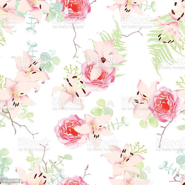 Delicate lilies and roses seamless vector pattern vector id483011468?b=1&k=6&m=483011468&s=612x612&h=cg9qhcfu d4poyvxghxatmtq6t55iwrpdse4dfrcce0=