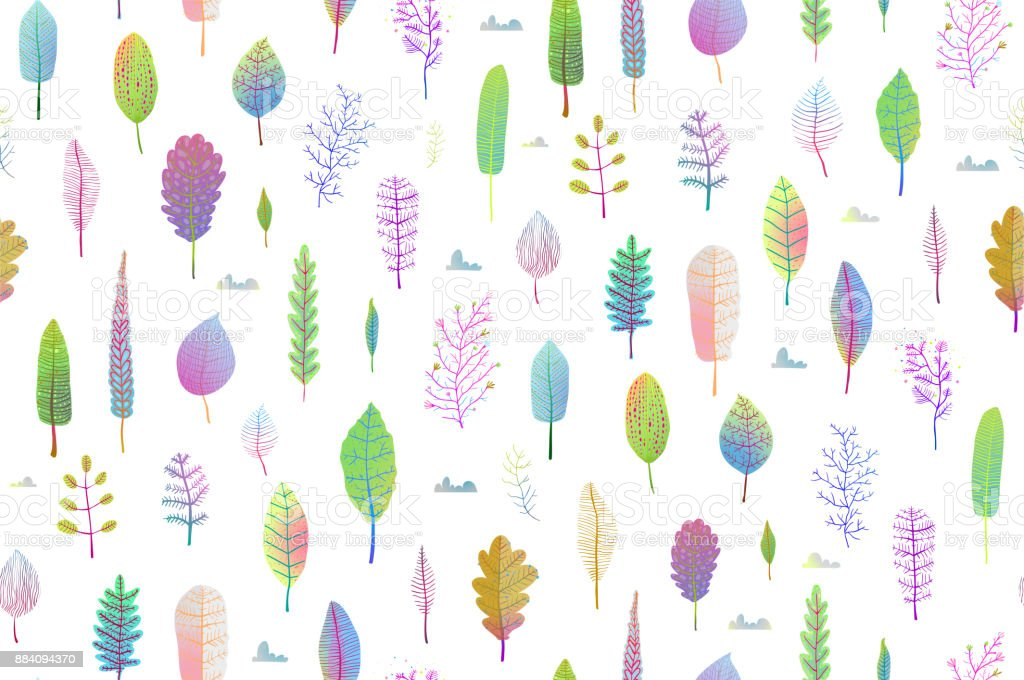 Delicate Nature Leaves Seamless Pattern Background vector art illustration