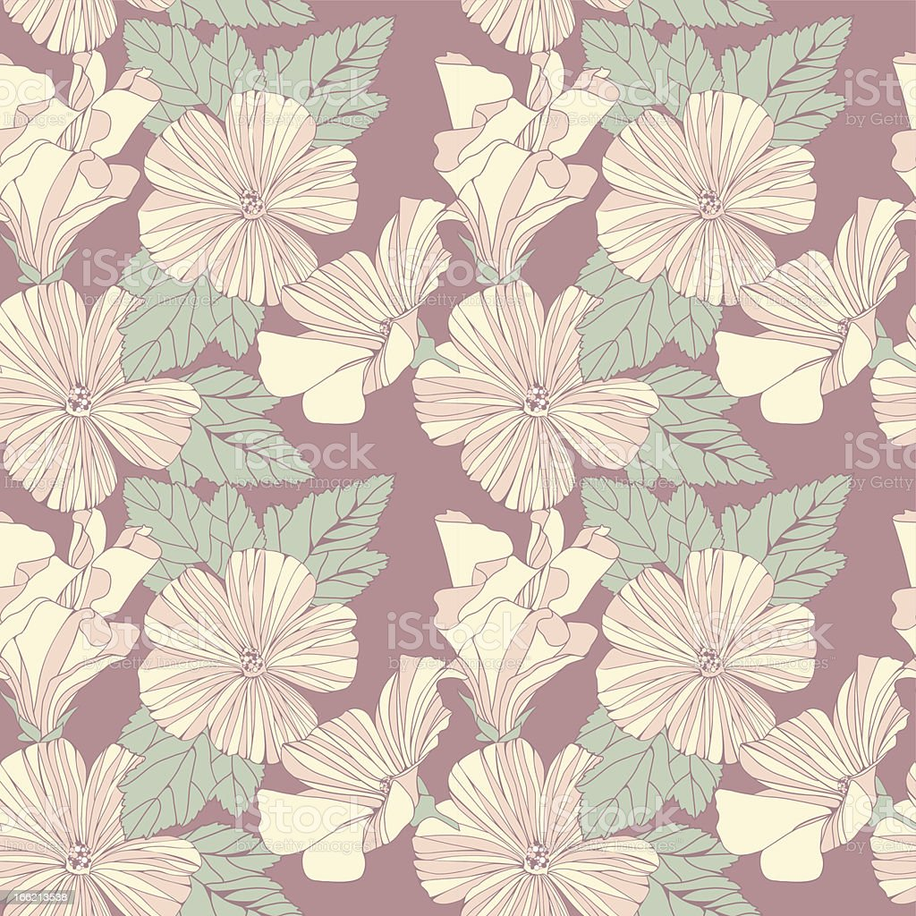 Delicate pattern with pastel colored hibiscus flowers. royalty-free delicate pattern with pastel colored hibiscus flowers stock vector art & more images of backgrounds